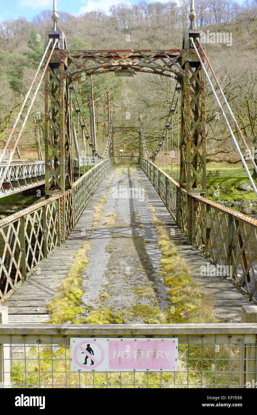 A rickety bridge in Mid Wales. - Stock Image