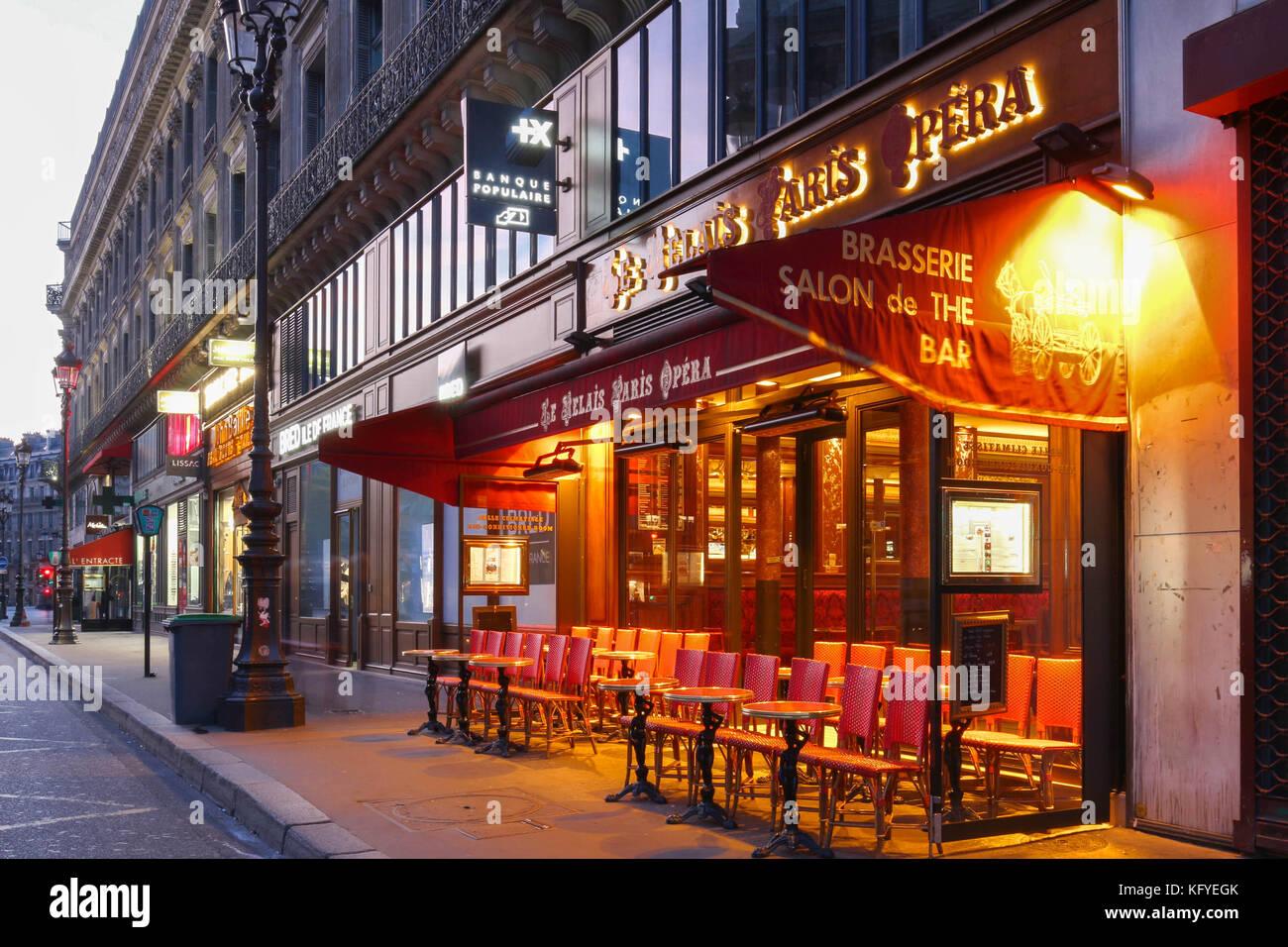 The traditional Parisian cafe Le relais Paris Opera located near Opera palace Garnier in Paris, France. Stock Photo