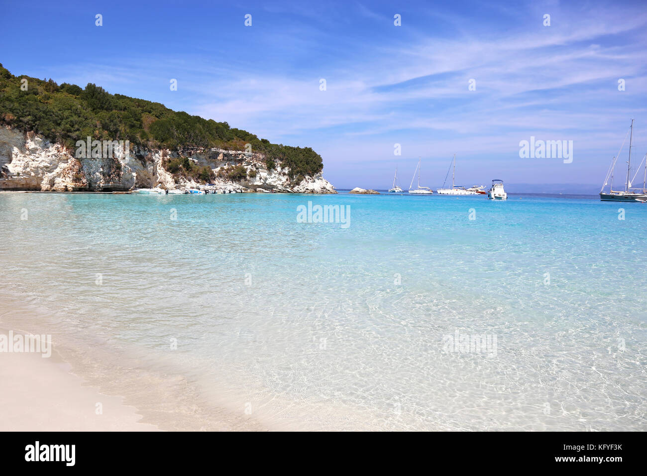 Antipaxos beach landscape Greece - Stock Image