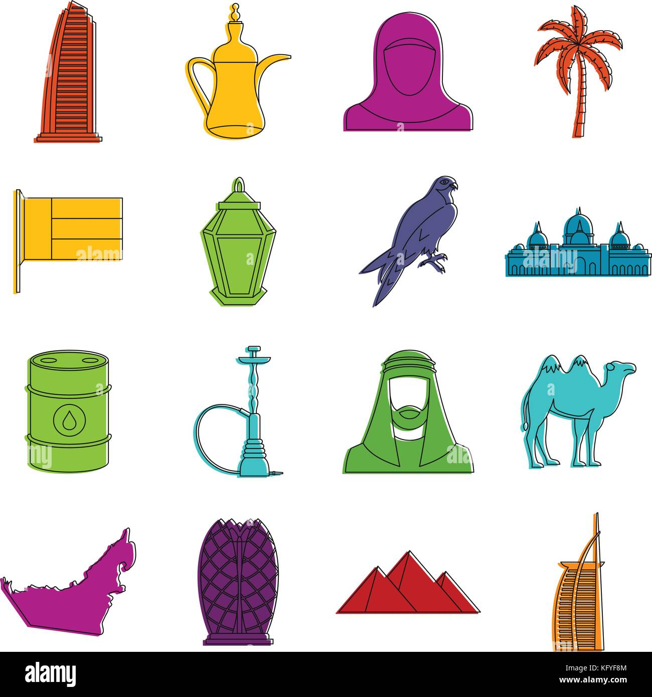 UAE travel icons doodle set Stock Vector