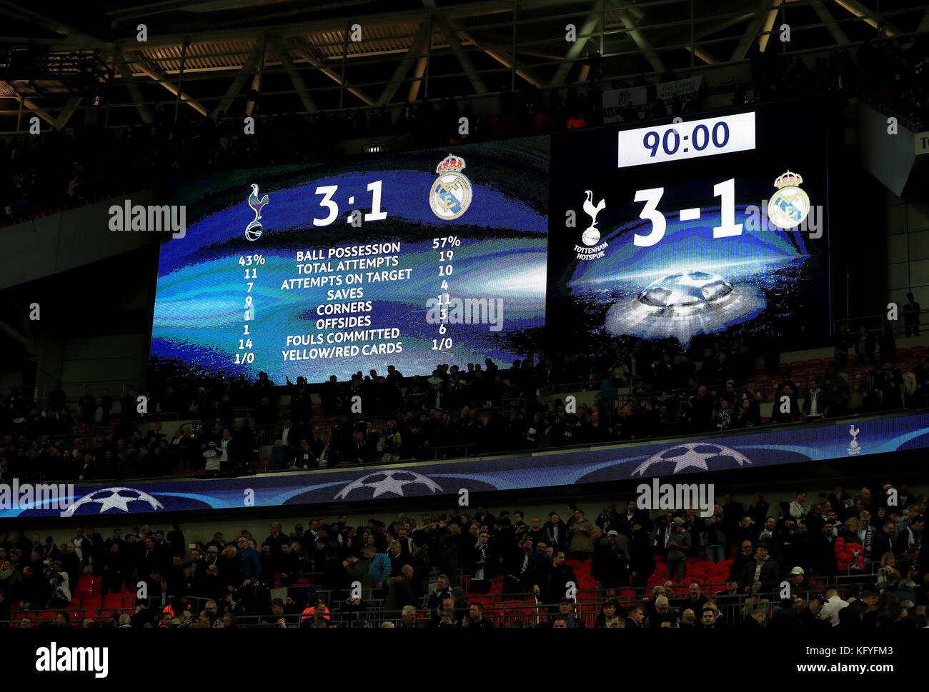 A General View Of The Scoreboard At Full Time During The Uefa