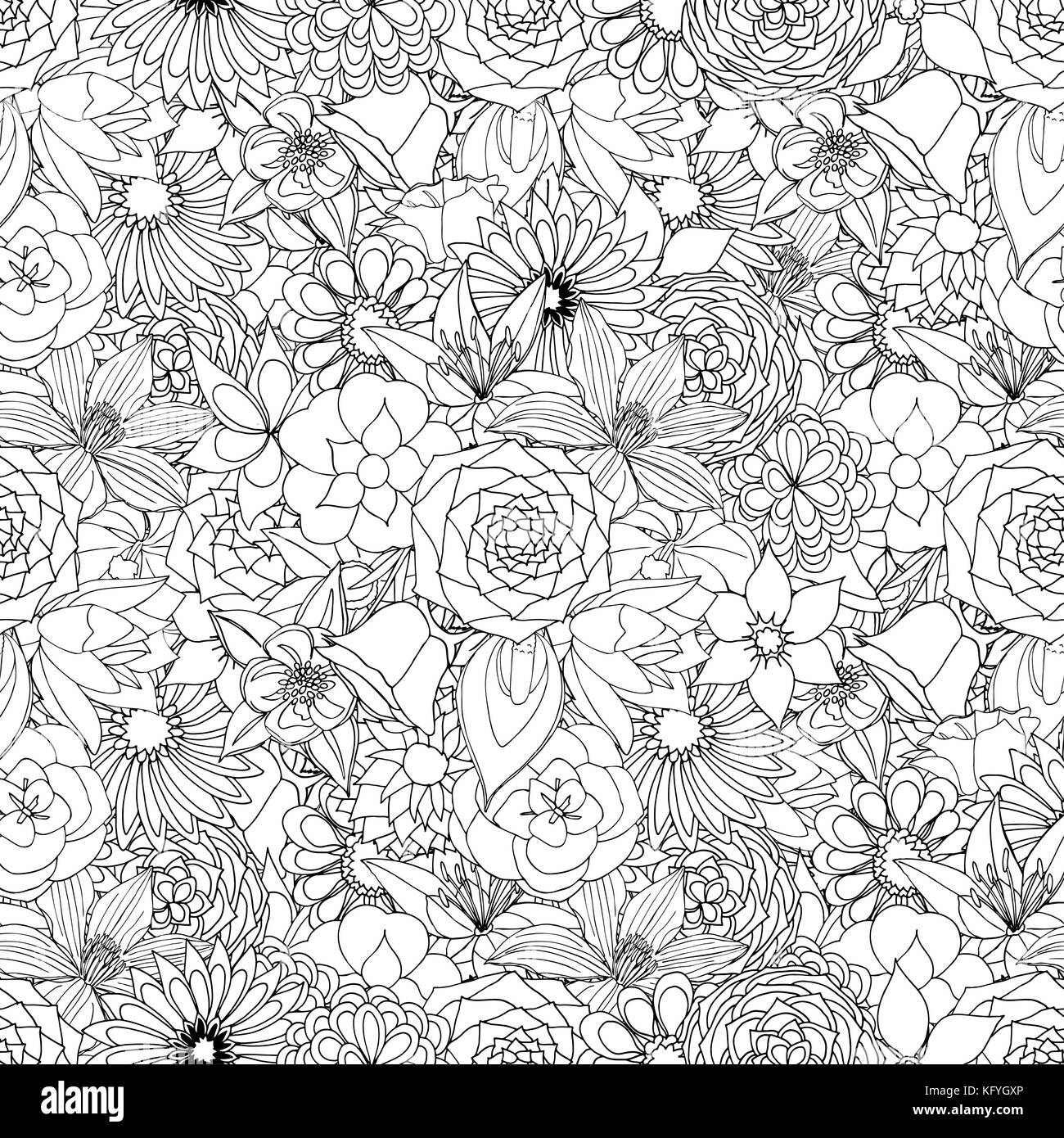 Floral Seamless Pattern Background With Leaves Doodles Ornament