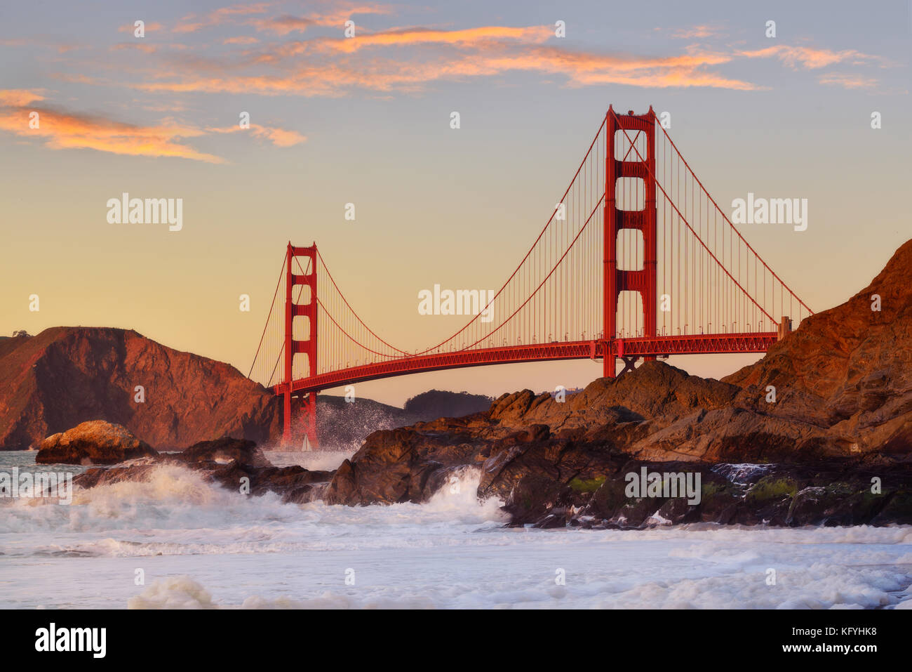 Beautiful Golden Gate the entrance to San Francisco, California, USA. Sunset and clear sky - Stock Image