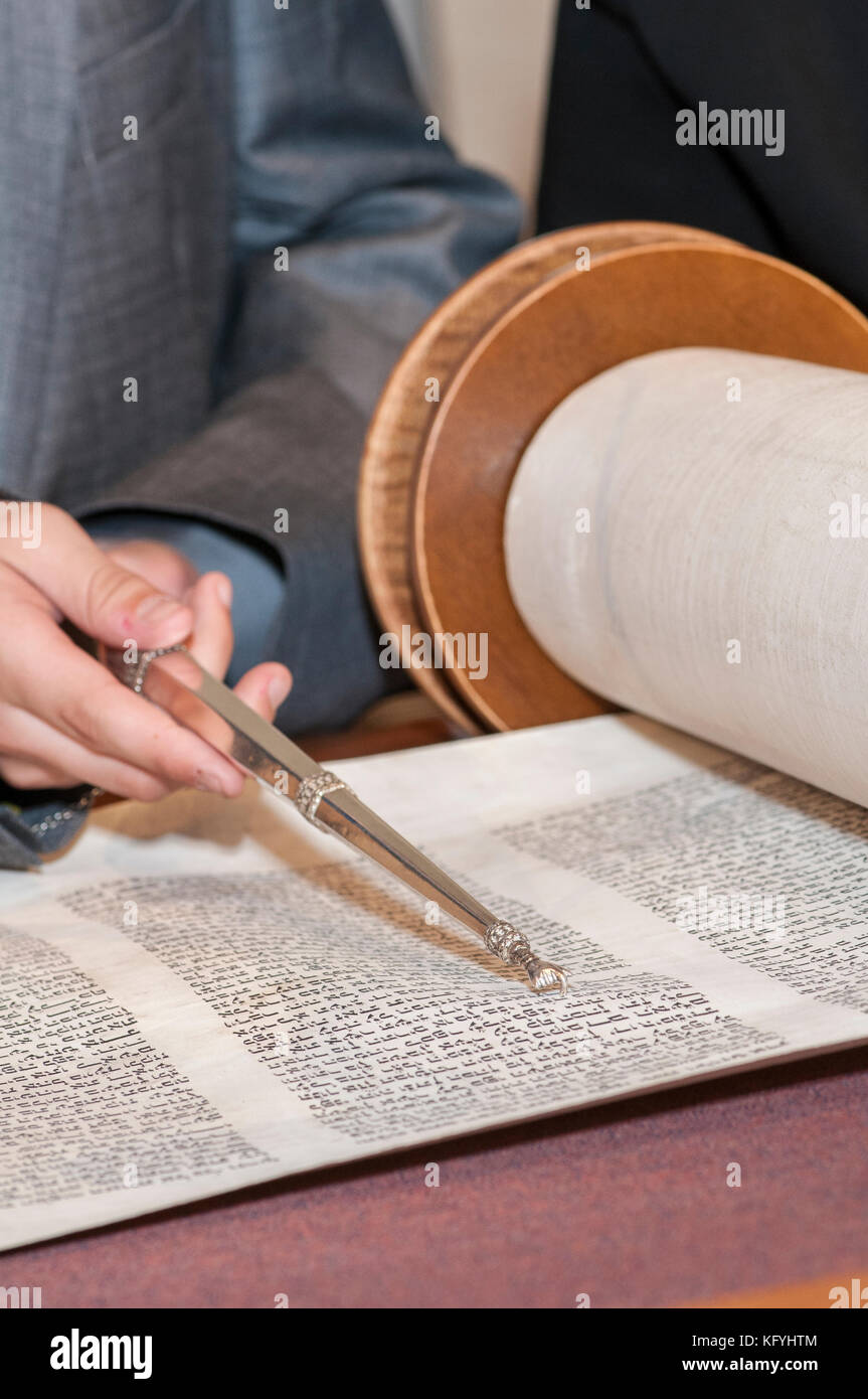 Minnetonka, Minnesota. 14 year old boy practicing for his Bar Mitzvah at Bet Shalom Congregation Synagogue.  Reading - Stock Image