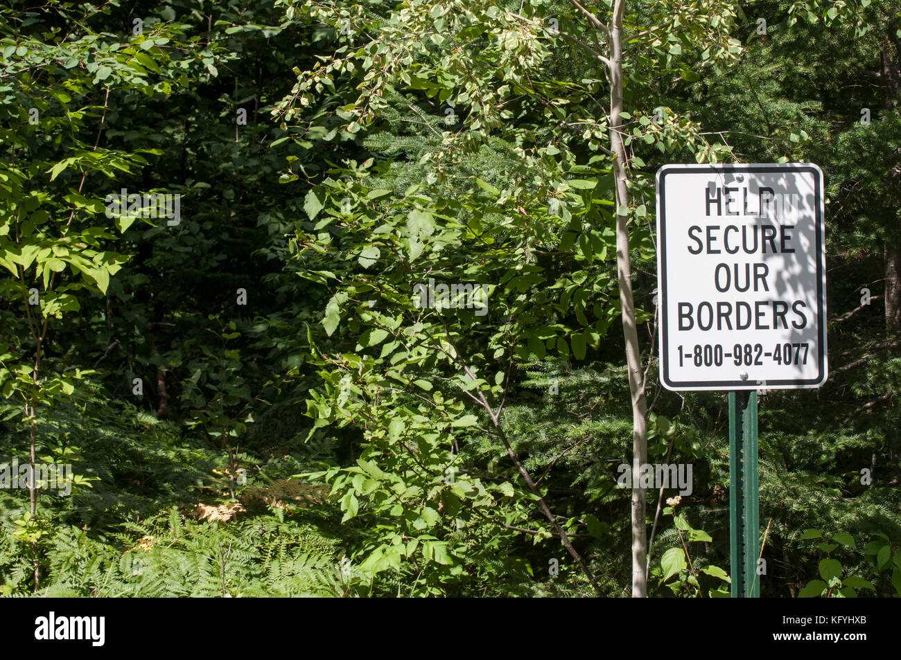 Grand Marais, Minnesota. Secure our border sign on a trail that leads to Canada through the Superior National Forest. - Stock Image