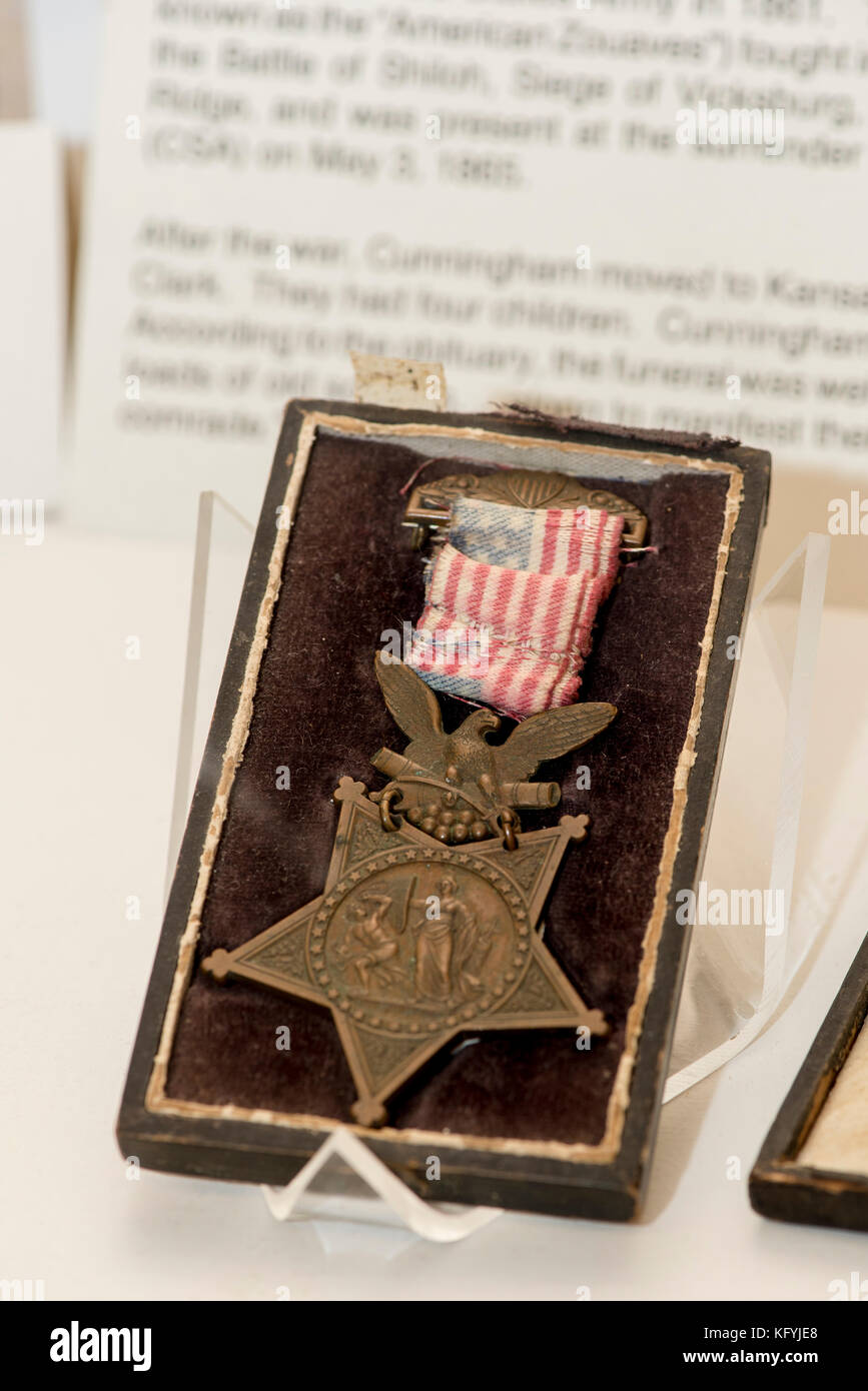 St. Joseph, Missouri. Civil war museum. Medal of Honor given to a private for gallantry in battle. - Stock Image