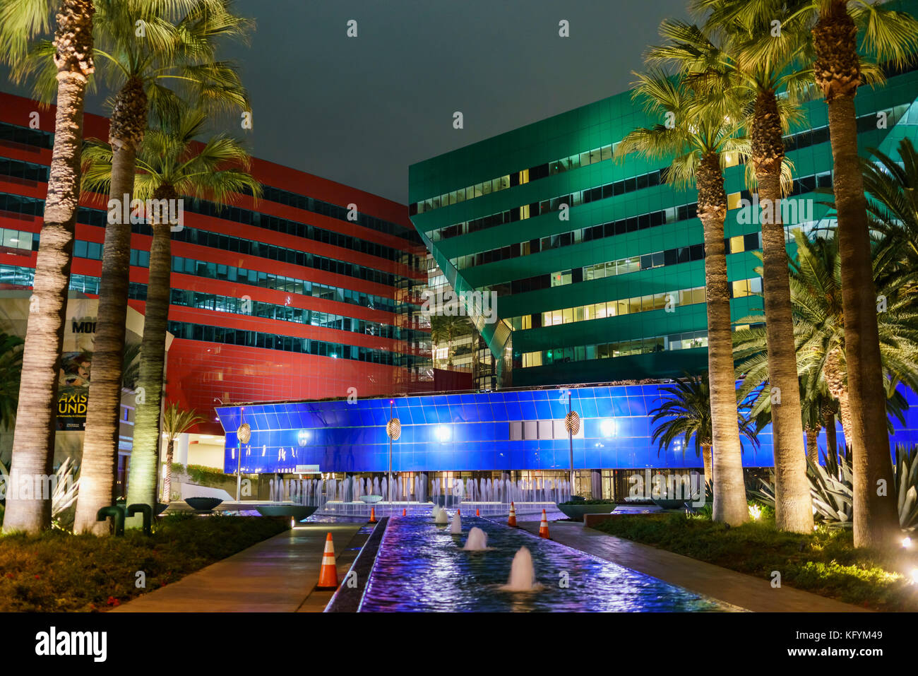 Los Angeles, OCT 31: Night view of the special Pacific Design Center on OCT 31, 2017 at West Hollywood, Los Angeles, Stock Photo