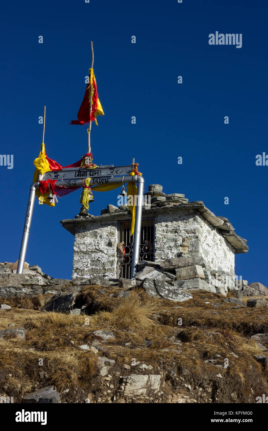 Chandrashila is summit of the Tungnath, Uttarakhand. It literally means 'Moon Rock'. It is located at a - Stock Image