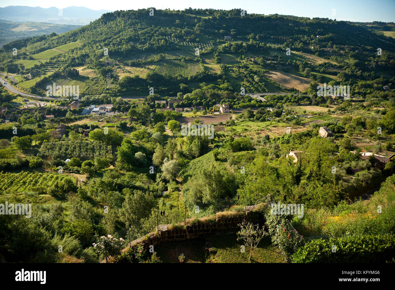 View of the green hills looking south from Orvieto, Italy. - Stock Image