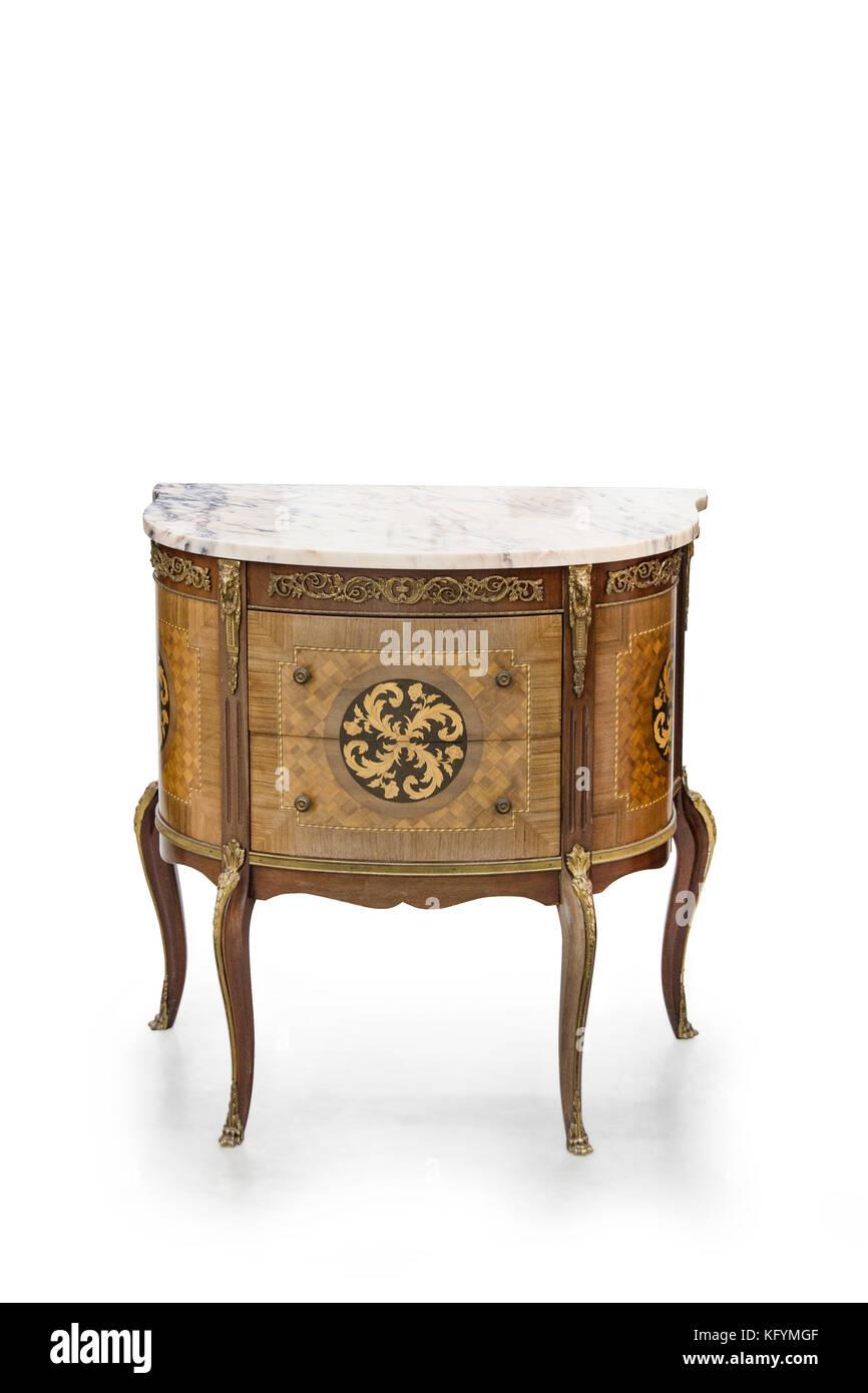 Antique style dresser isolated on white - Stock Image