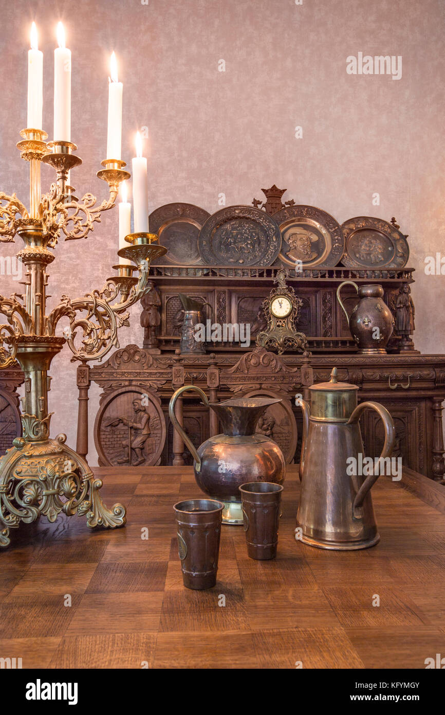 Part Of Antique Kitchen Interior In Traditional Belgian Style.