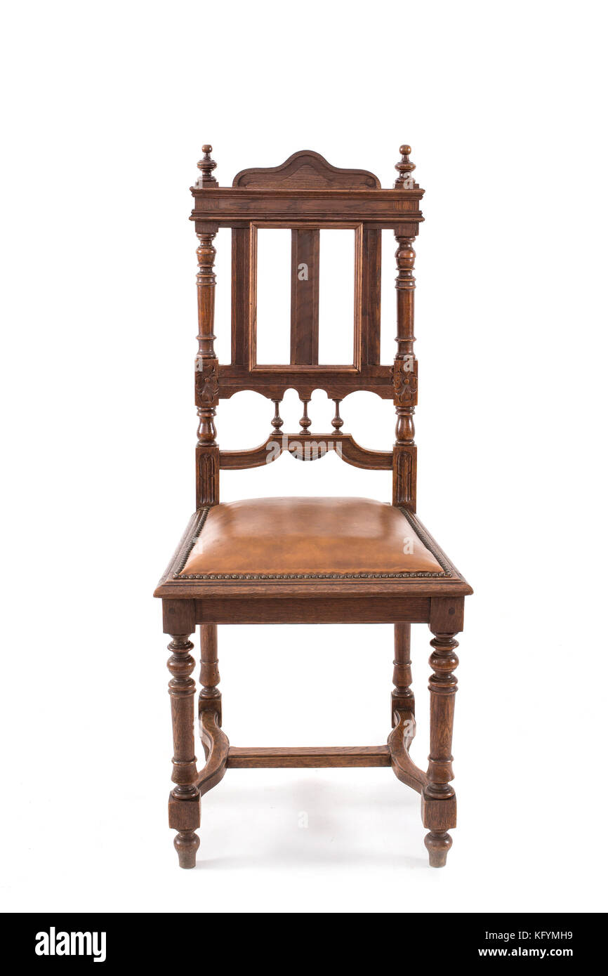 Antique wood chair on the white background. - Stock Image - Carved Wooden Chair Carving Stock Photos & Carved Wooden Chair