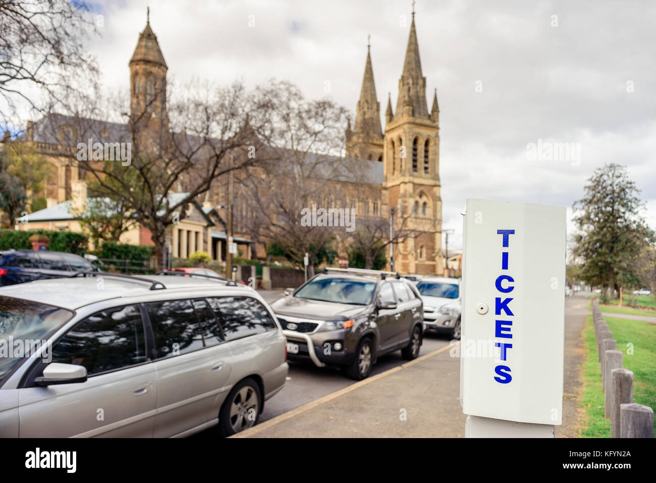 Adelaide, Australia - August 27, 2017: Parking meter  installed near St. Peter's Cathedral in Adelaide CBD with - Stock Image