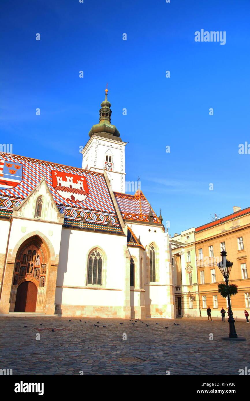 Church of St. Mark in Zagreb Upper town, Croatia - Stock Image