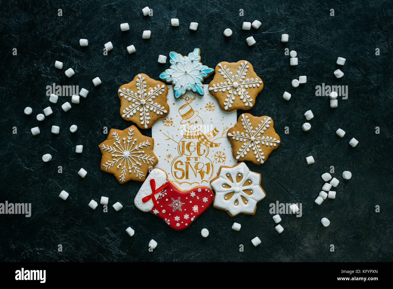 christmas card and gingerbreads - Stock Image