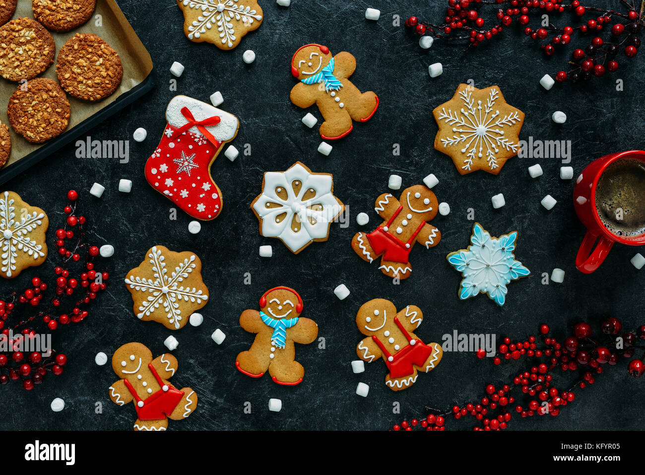 christmas gingerbreads and coffee  - Stock Image