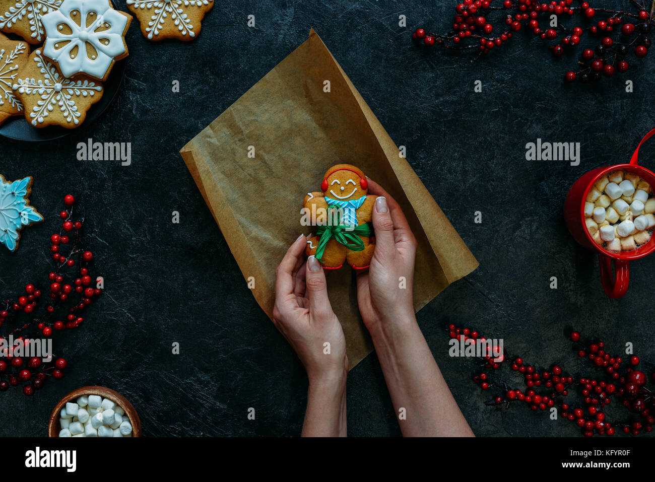 festive gingerbread cookie - Stock Image