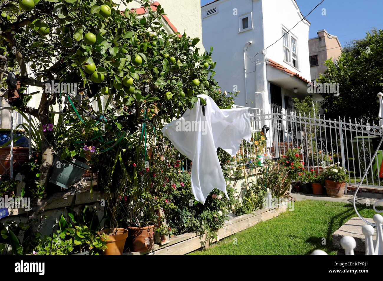 Halloween ghost hanging from a outside a home in Echo Park