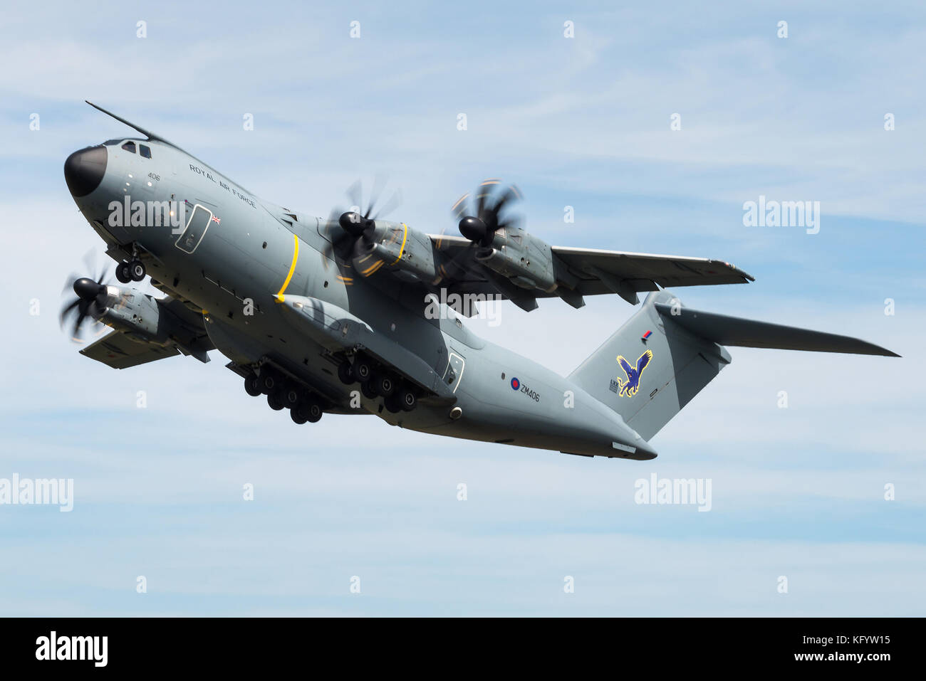 An Airbus A400M military transport aircraft of the 70th Squadron at RAF Brize Norton takes off at RAF Fairford. - Stock Image