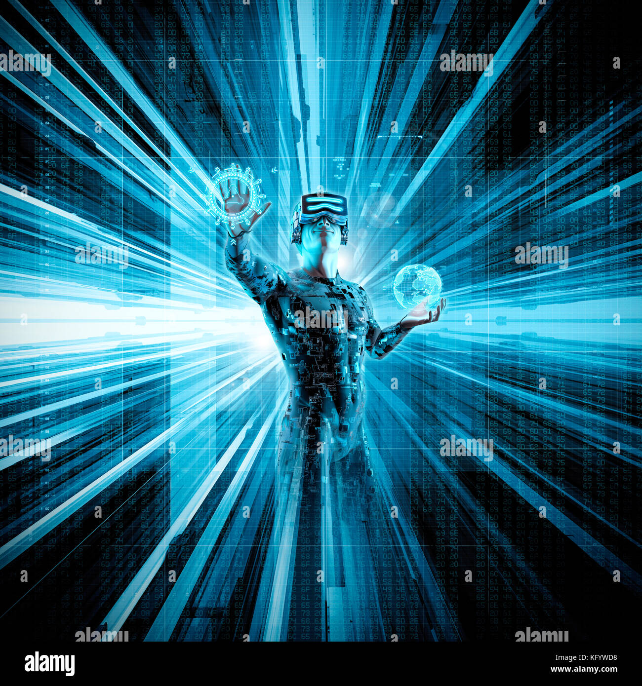 Virtual reality data stream / 3D illustration of male figure in virtual gear working in cyberspace - Stock Image