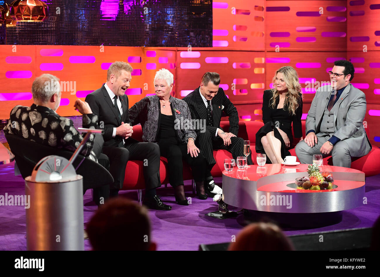 (From the left) Graham Norton, Sir Kenneth Branagh, Dame Judi Dench, Johnny Depp, Michelle Pfeiffer and Josh Gad appearing on the Graham Norton Show filmed at the London Studios, London. Stock Photo