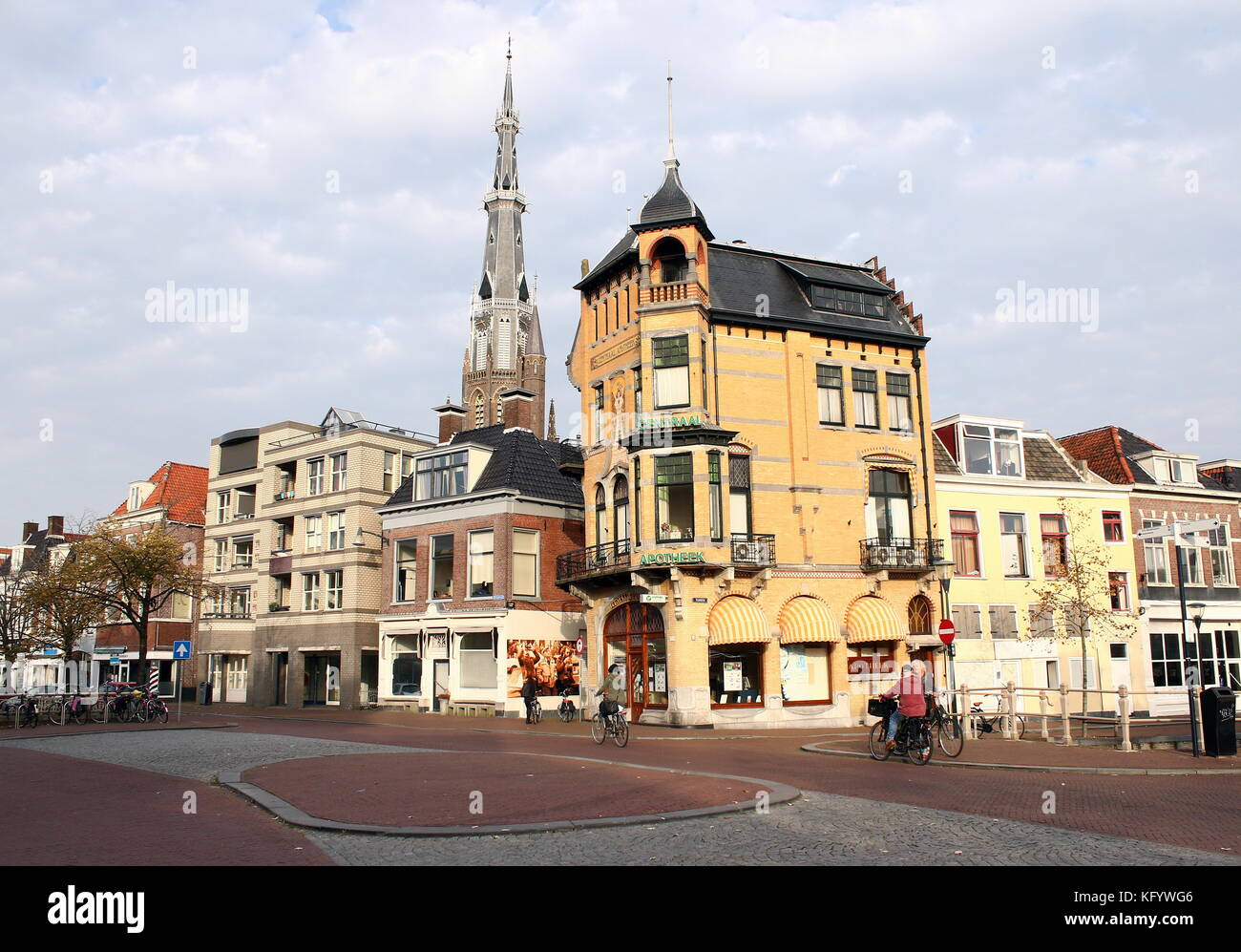 Art Nouveau Chemist shop at Voorstreek in Leeuwarden, The Netherlands, with tower of the church of St. Boniface - Stock Image