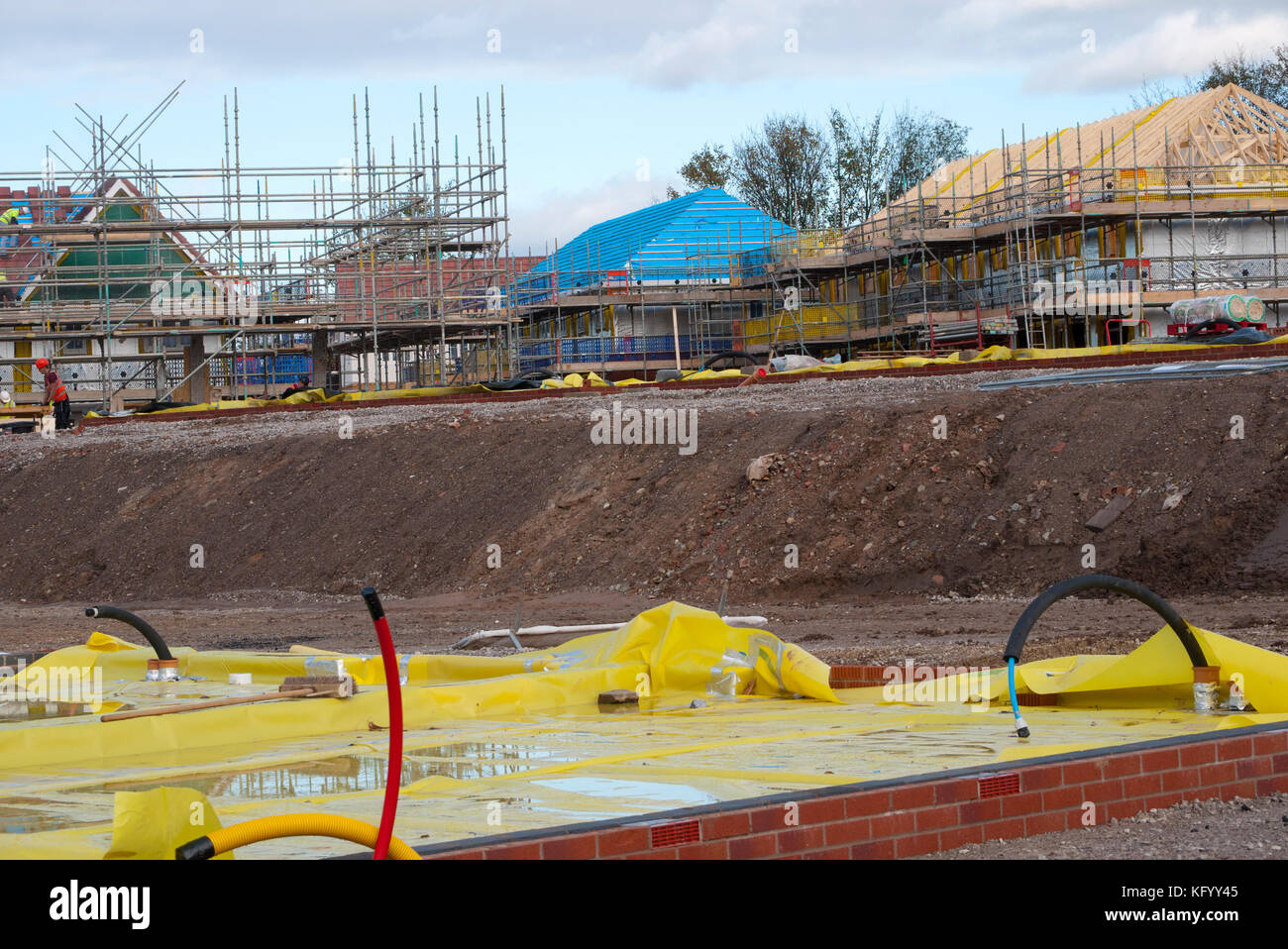 New house foundations on a New build housing estate, Middleton, Rochdale,Greater Manchester, UK. - Stock Image