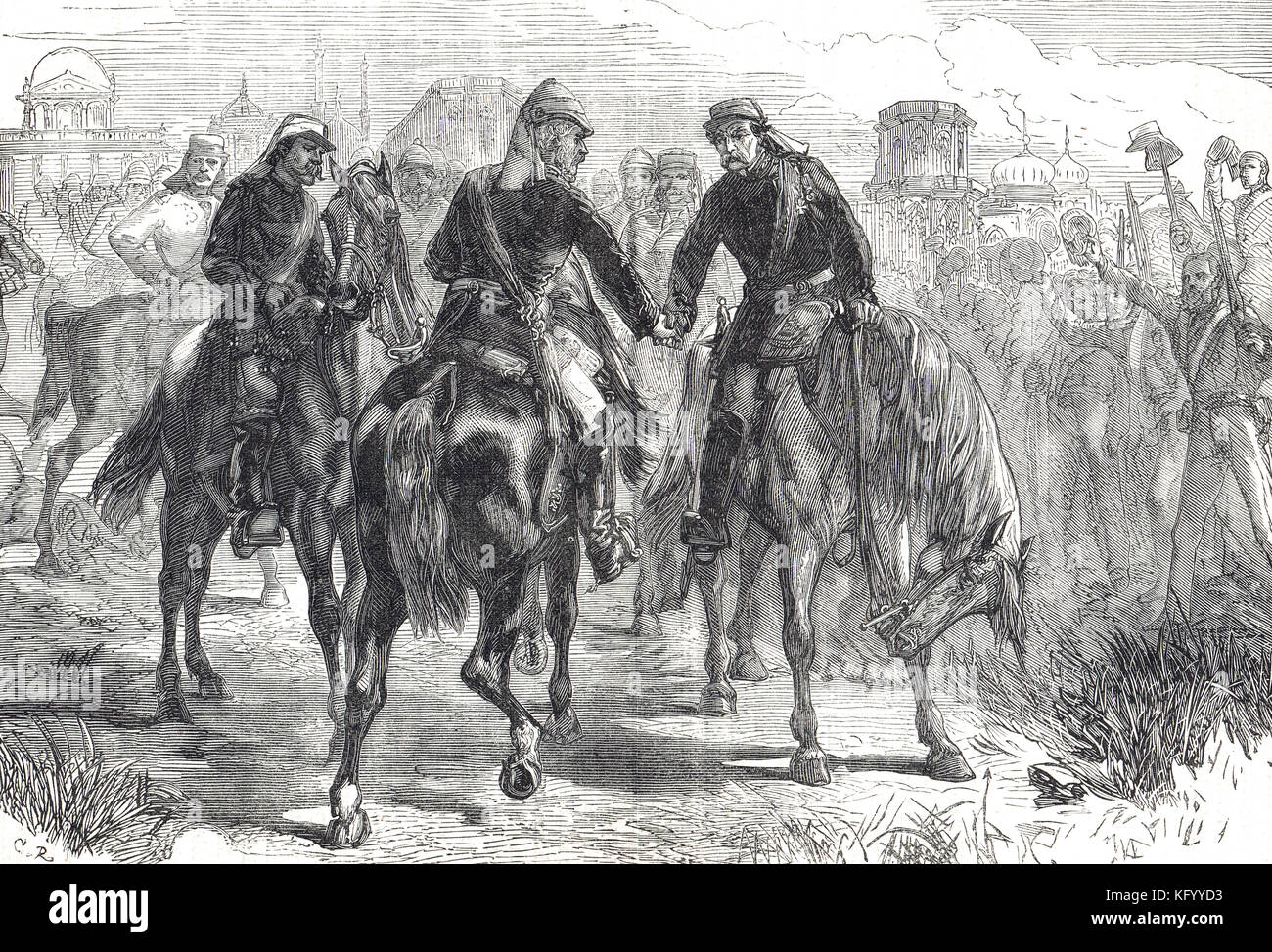 Meeting of the Generals, Sir Henry Havelock,Sir James Outram, Sir Colin Campbell, First relief of Lucknow, Indian Rebellion of 1857 Stock Photo