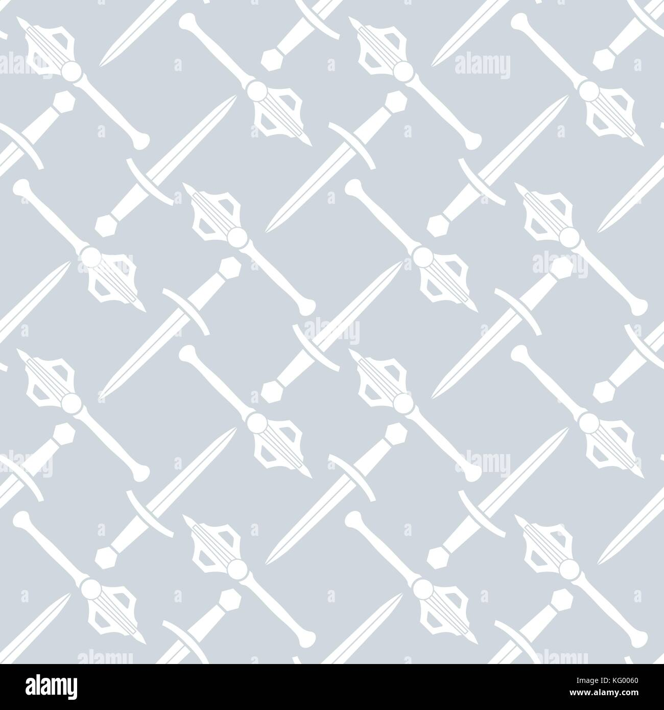 vector white solid design battle hammer axe dagger medieval cold steel arms seamless pattern isolated on silver - Stock Vector