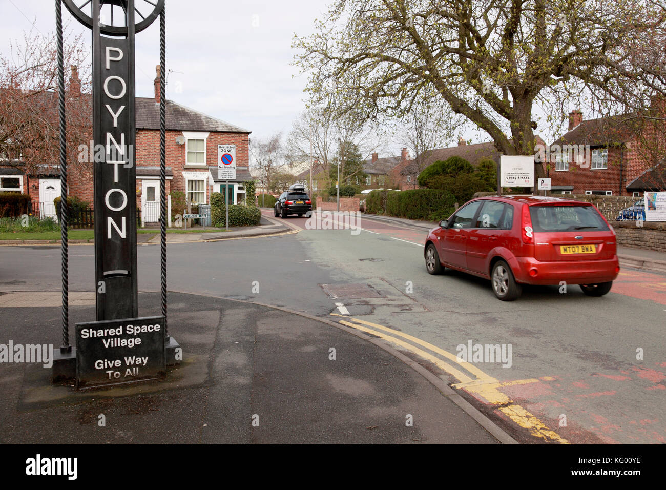 The beginning of the shared space traffic engineering project in Poynton, Cheshire - Stock Image