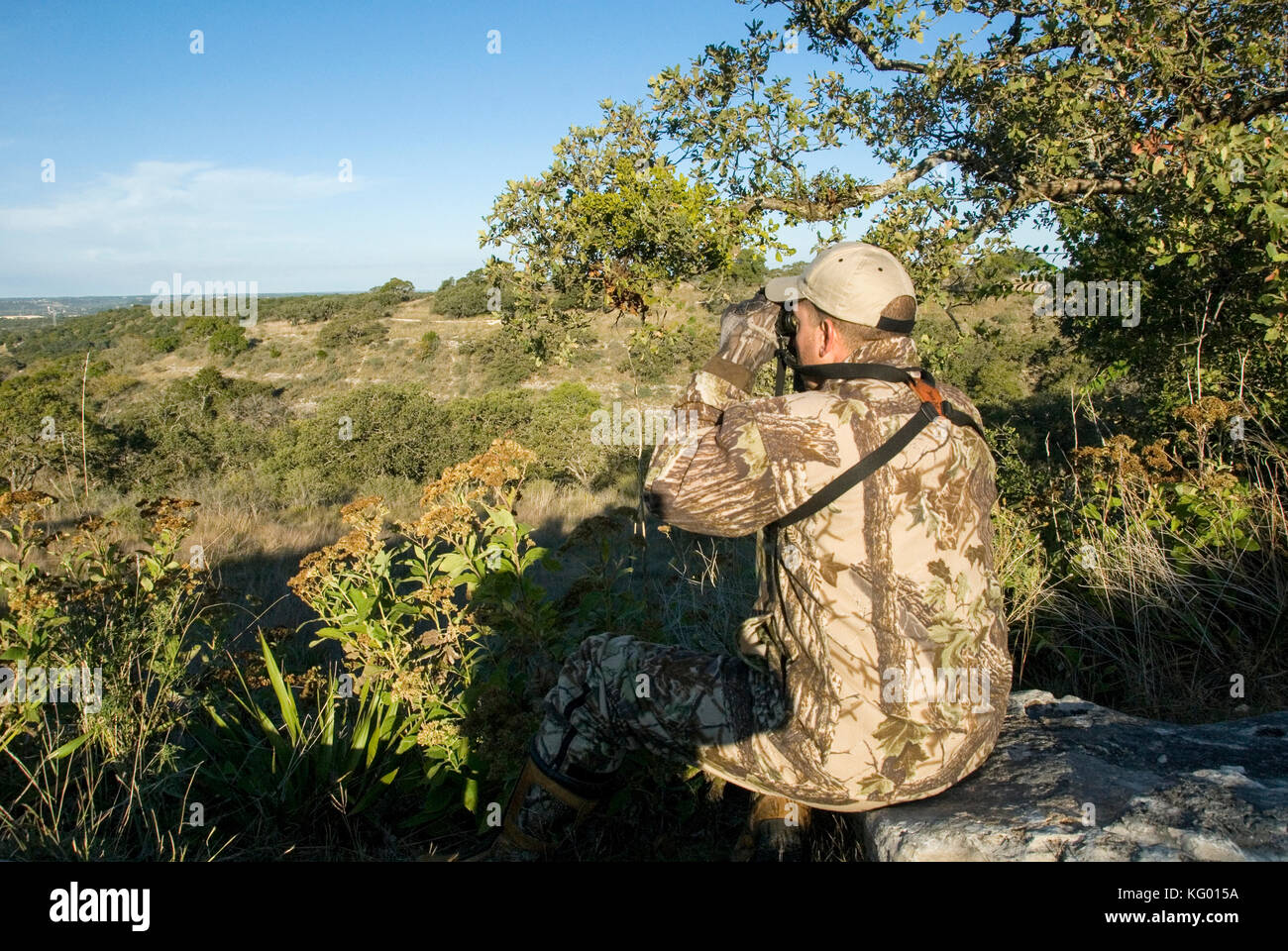 A LONE HUNTER LOOKS FOR WHITETAIL DEER IN THE TEXAS HILL COUNTRY - Stock Image
