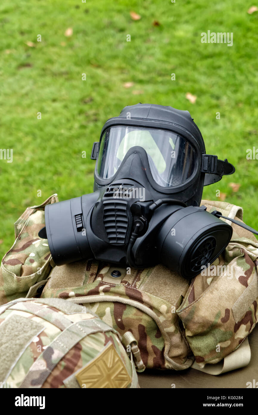 A  British Armed Forces General Service Respirator on display at the Longleat Military Spectacular Show, Longleat, - Stock Image