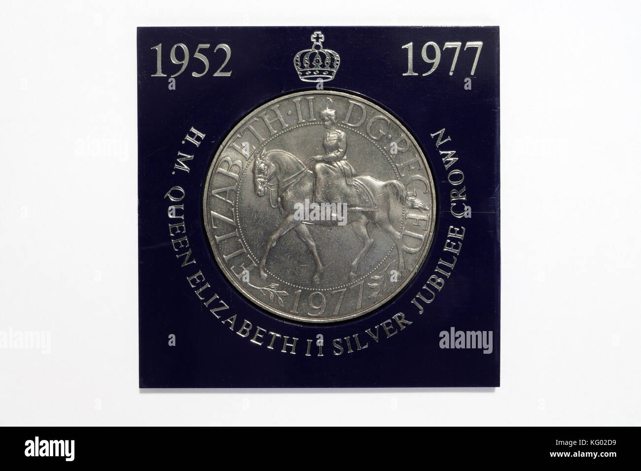 Commerative coin, Queen Elizabeth II silver Jubilee 1977 - Stock Image