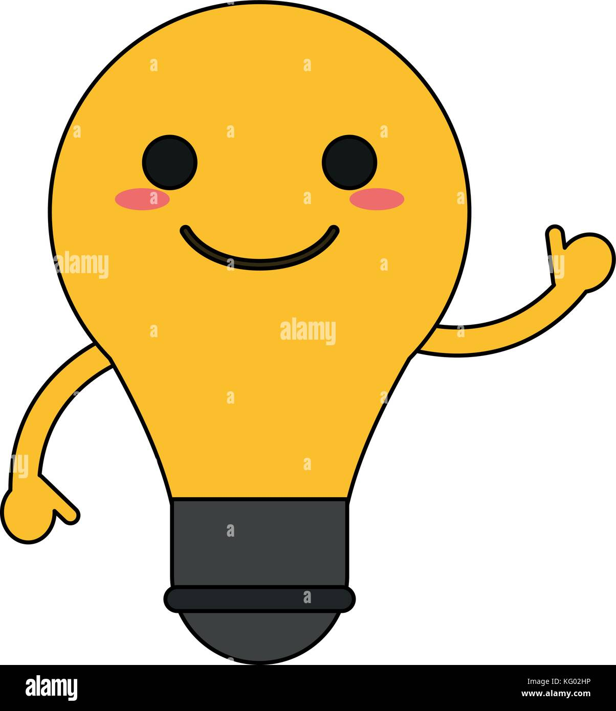 Lightbulb happy cartoon character waving hand icon image stock image