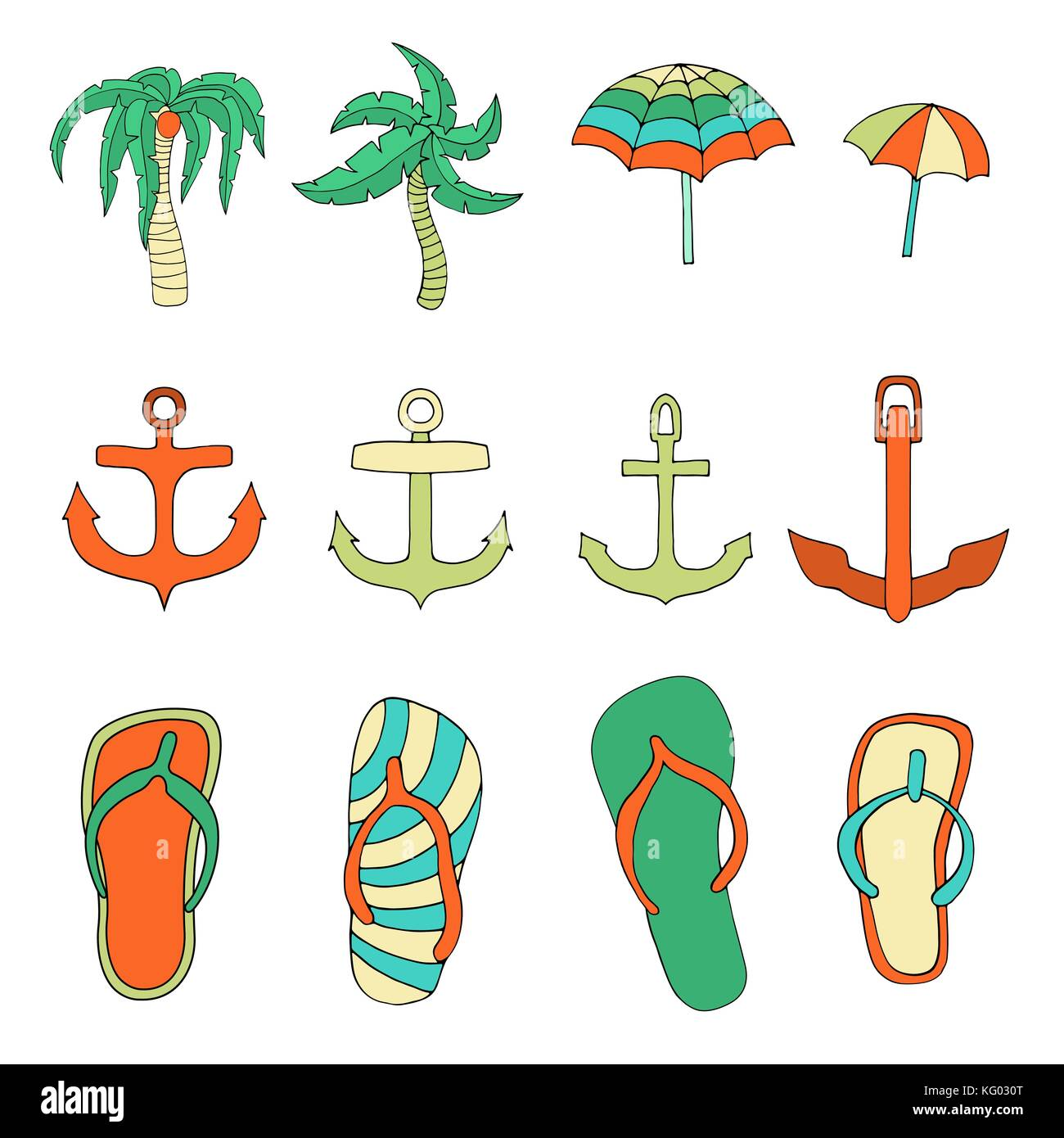 Set of objects associated with the summer holidays. Vector illustration. isolated - Stock Image
