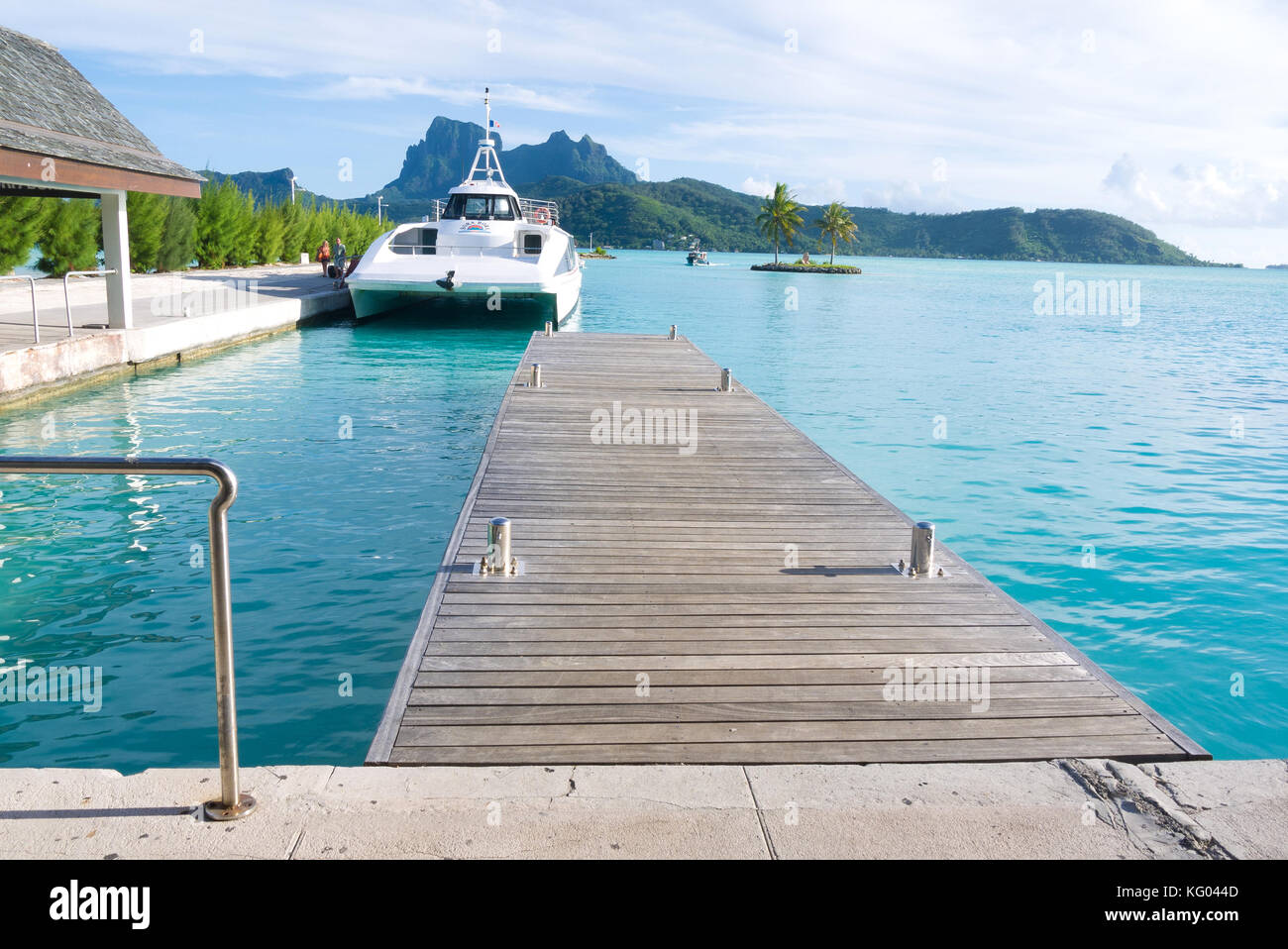 The Bora Bora airport in Motu Mute, French Polynesia caters to both air travel and sea travel with an assortment - Stock Image