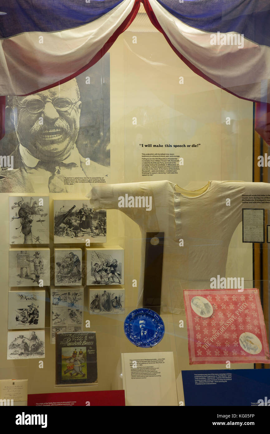 Visitor Center exhibit, Theodore Roosevelt National Park-South Unit, North Dakota - Stock Image