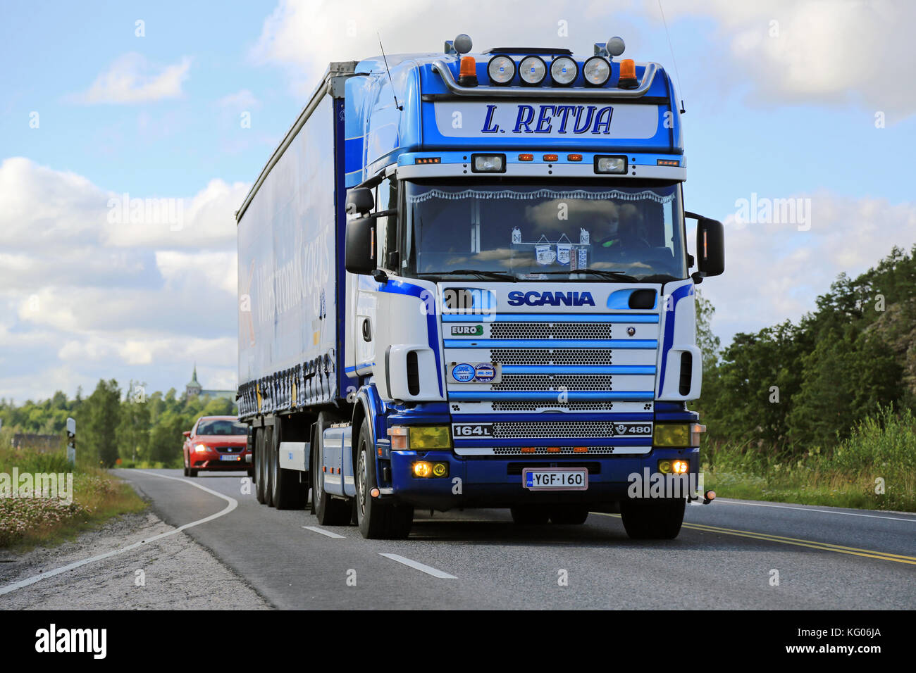 SALO, FINLAND - JULY 24, 2015: Scania 164L 480 semi truck on the road. The 4-series was succeeded by the R/P/G-series - Stock Image