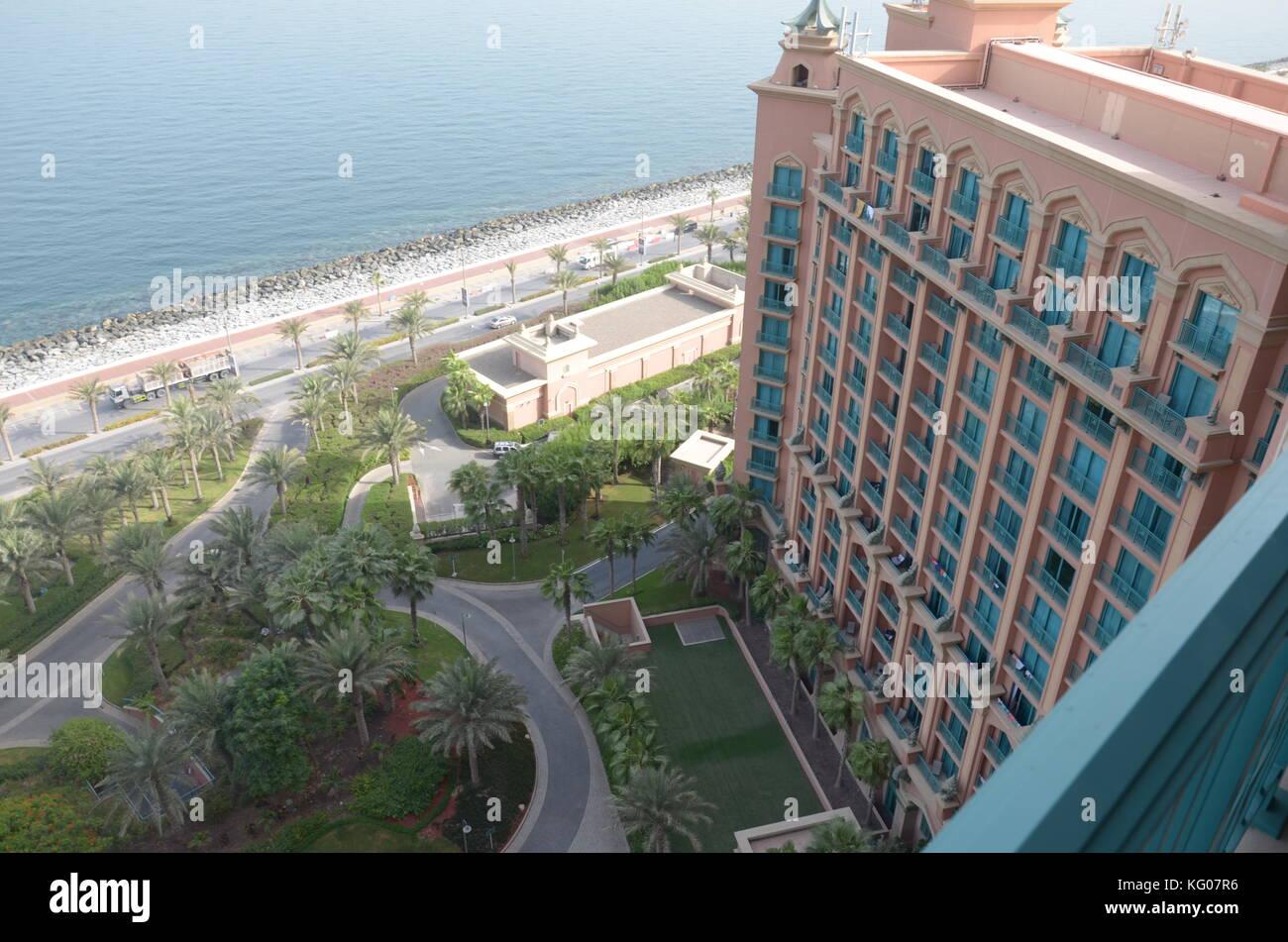Amazing sea view from the 18th floor of Atlantis the Palm Dubai Stock Photo