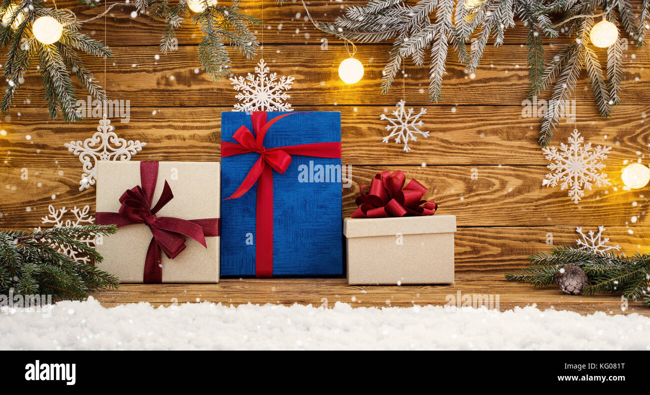 Old wooden planks with christmas decoration - Stock Image