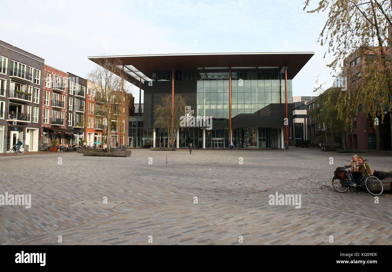 New Frisian Museum (Frysk Museum) building at Wilhelminaplein (also Zaailand) square in Leeuwarden, The Netherlands, - Stock Image