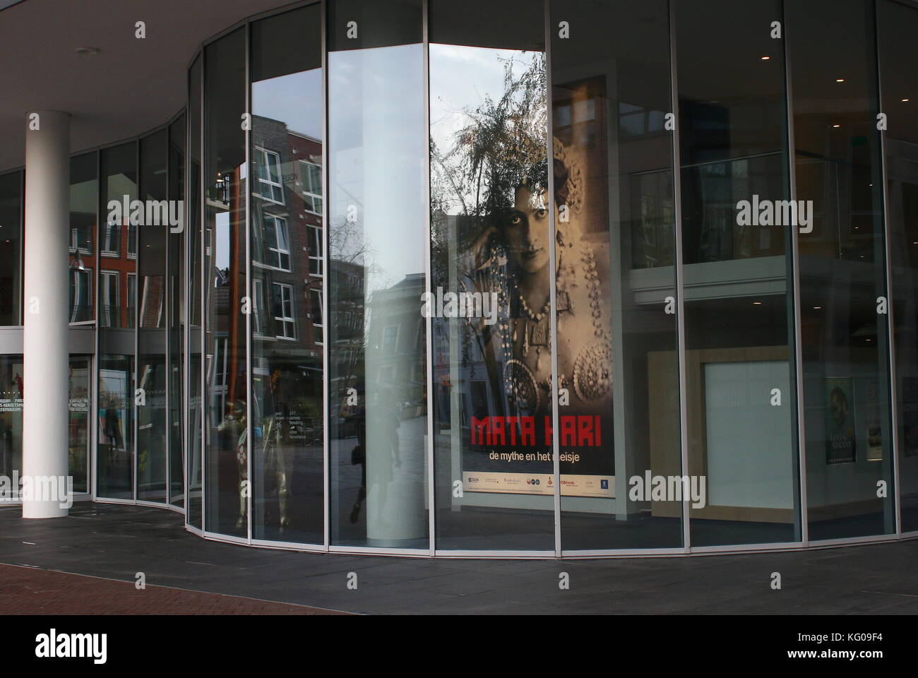 Mata Hari Exhibition poster at the New Frisian Museum (Frysk Museum) building in Leeuwarden, The Netherlands. - Stock Image
