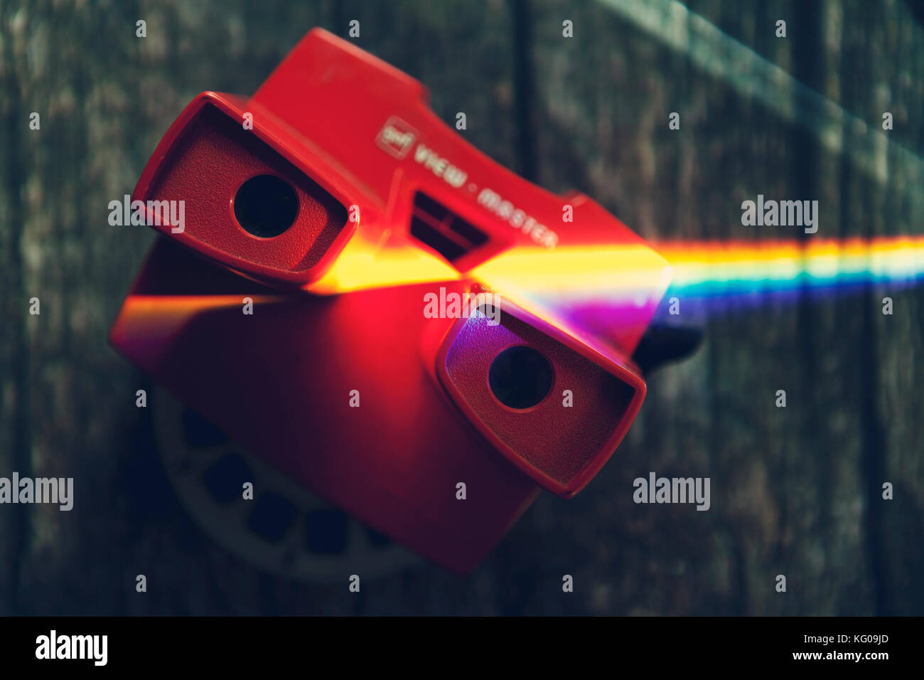 ray of spectrum light on view master - Stock Image