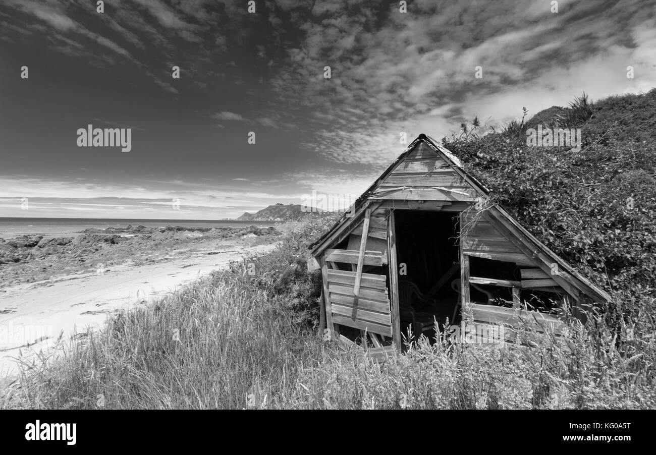Abandoned coastal shack in the Catlins, New Zealand - Stock Image