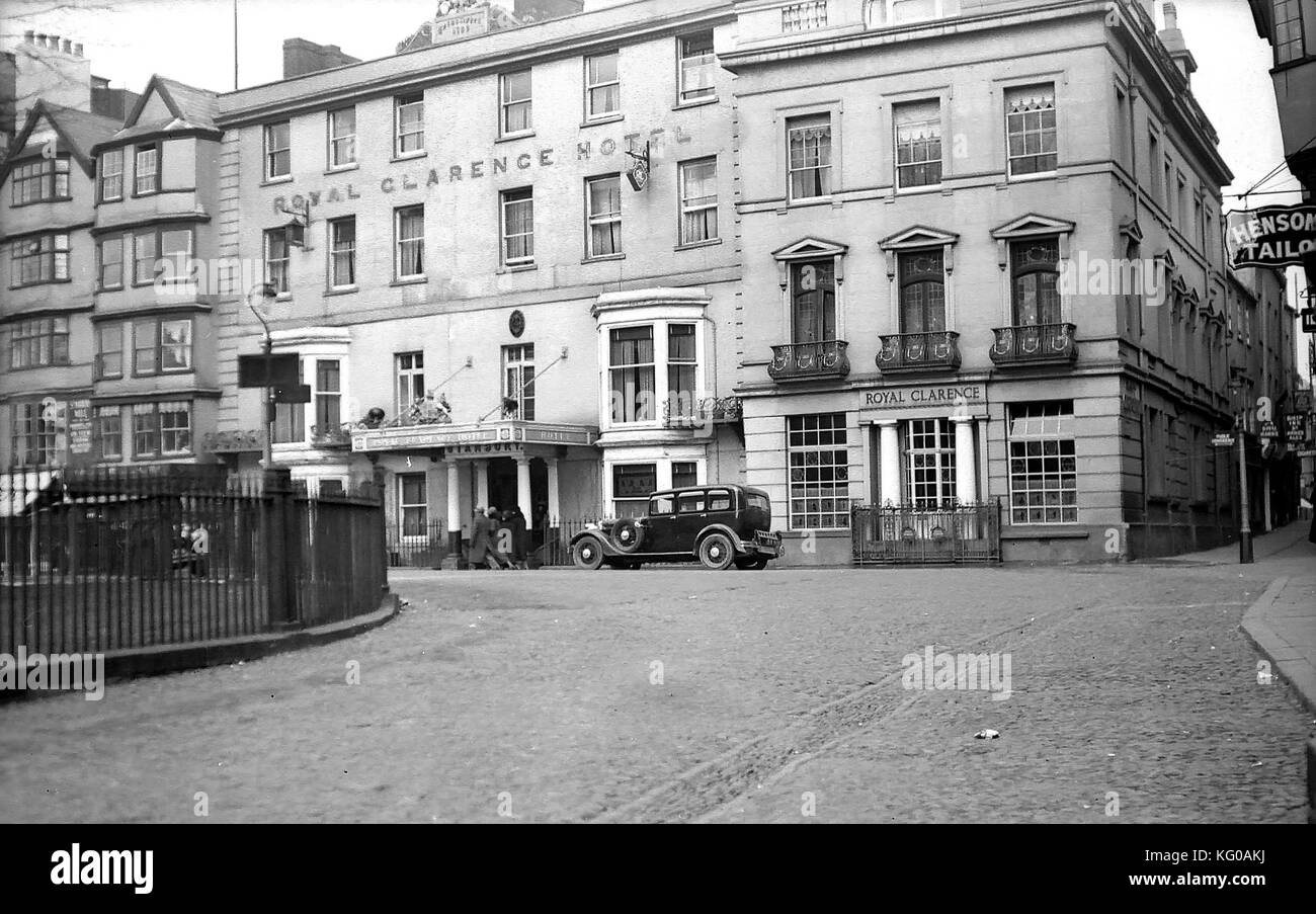 Black and white archive image of the Royal Clarence Hotel in Exeter circa 1934 - Stock Image