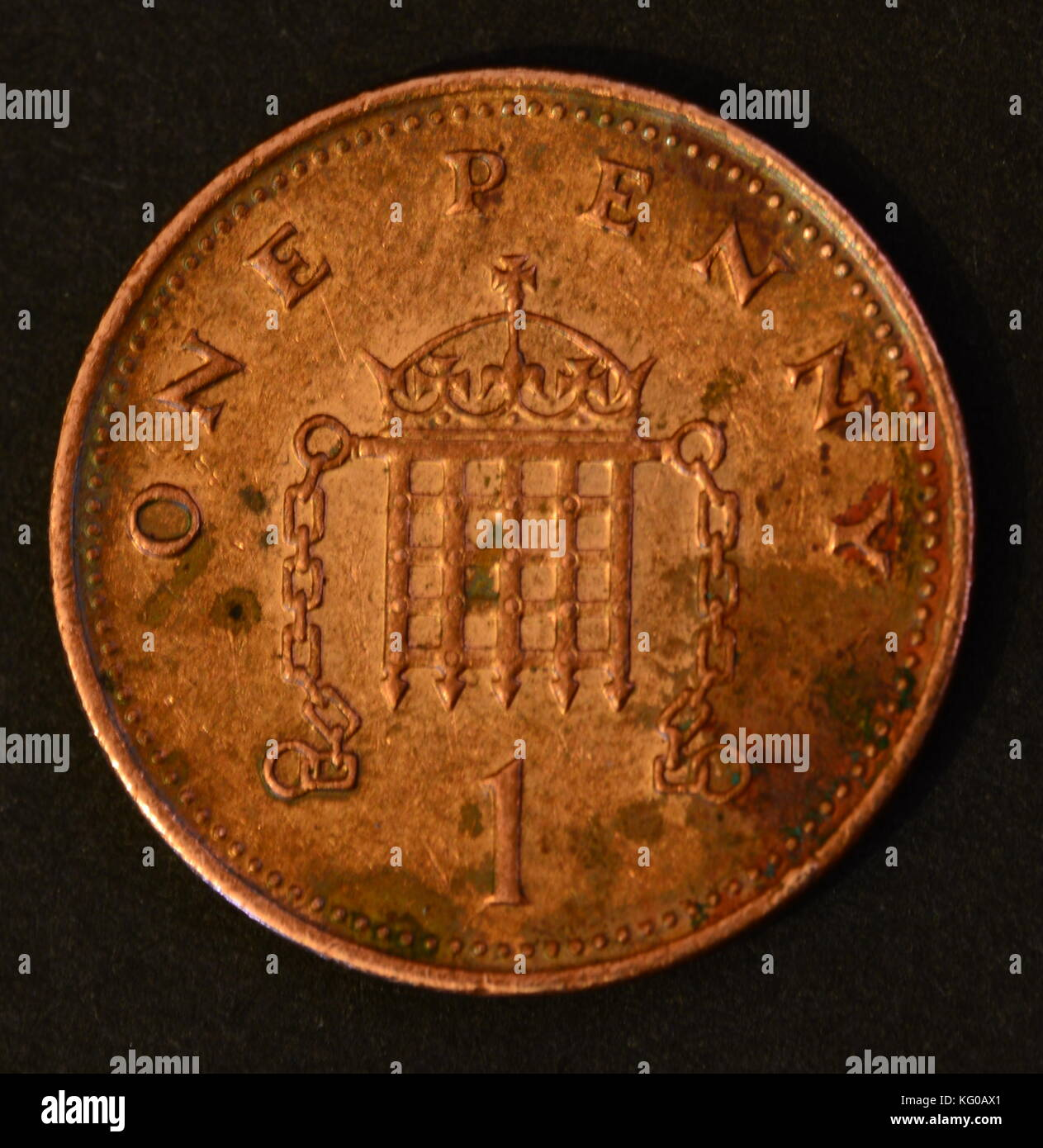 One Pence coin - Stock Image