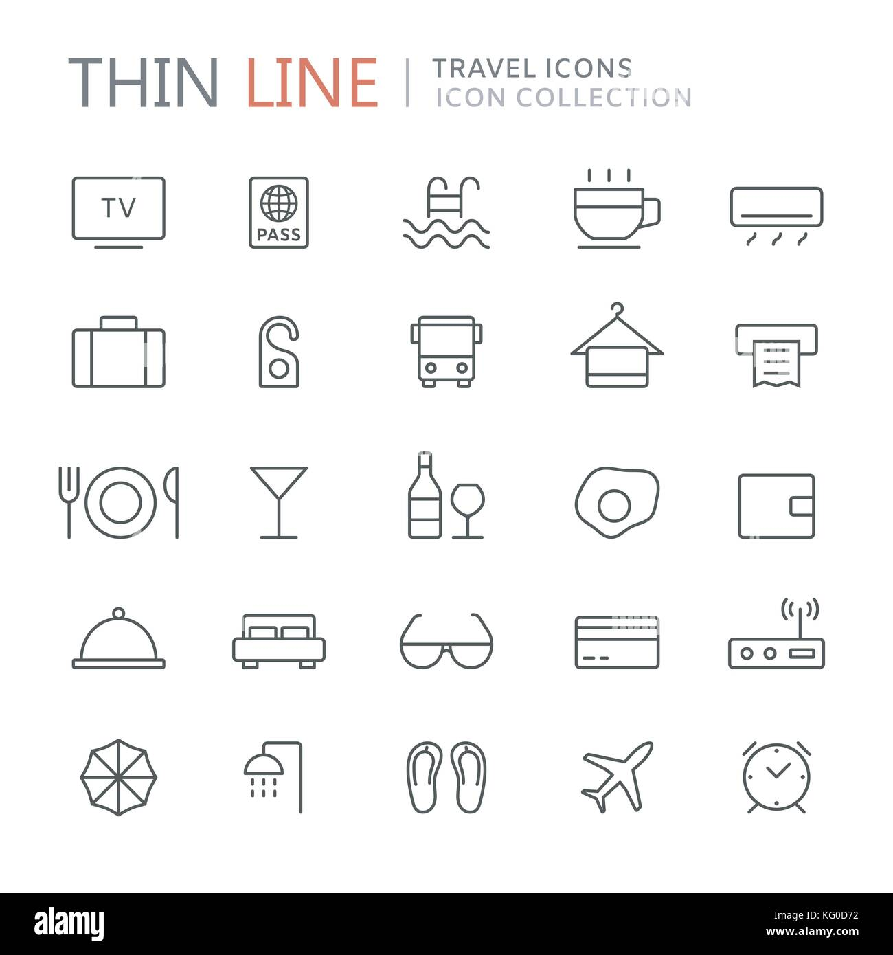 Collection of hotel thin line icons Stock Vector