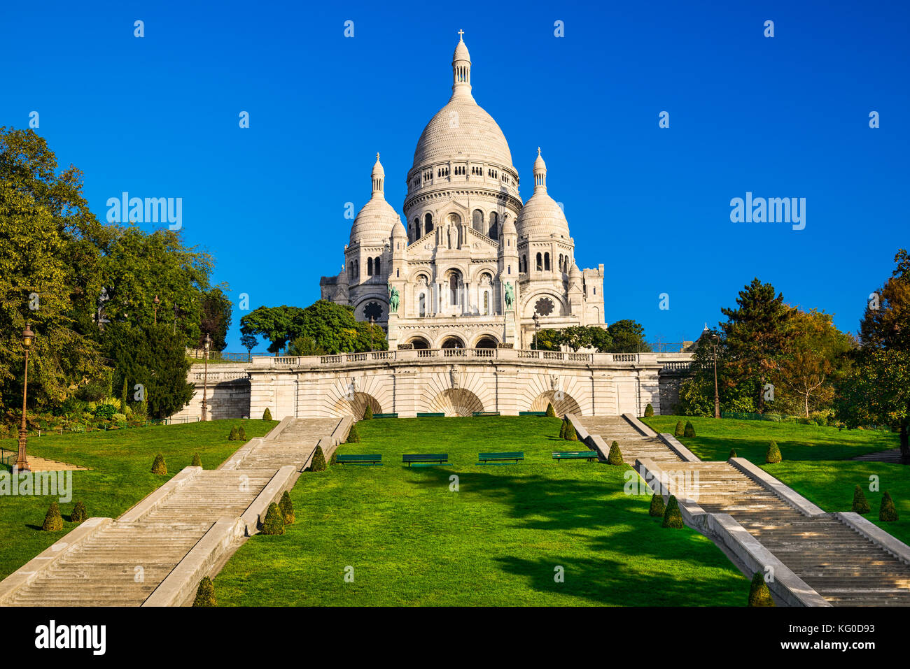 Basilica Sacre Coeur in Montmartre in Paris, France - Stock Image