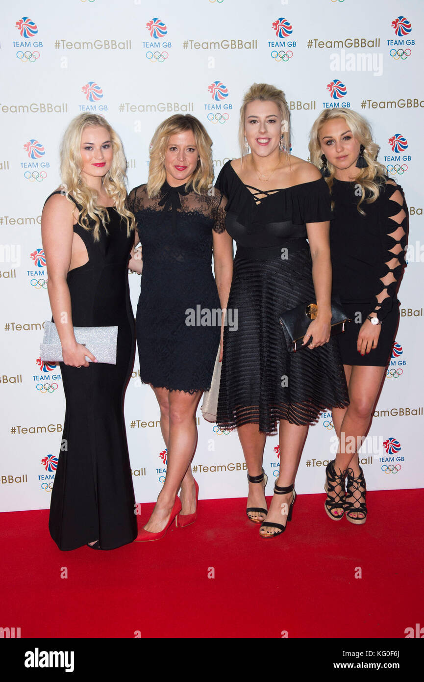 (Left to right) Katie Ormerod, Jenny Jones, Katie Summerhayes and Aimee Fuller attend the Team GB Ball at the V&A - Stock Image
