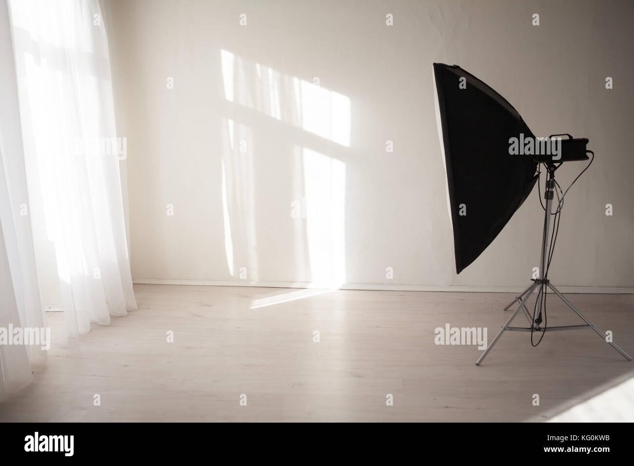 Flash white backgrounds Photo Studio decor - Stock Image